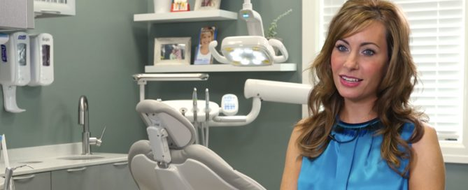 Dentist showing new dental equipment