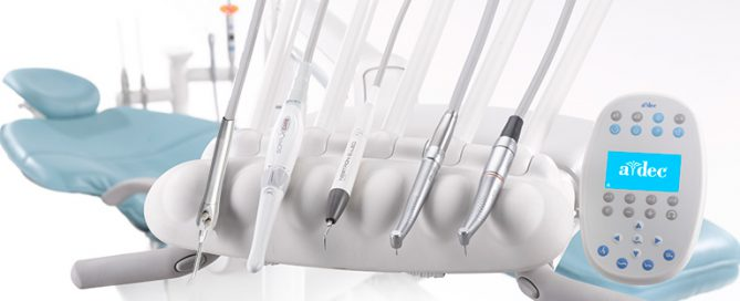 A-dec delivery system with dental tools