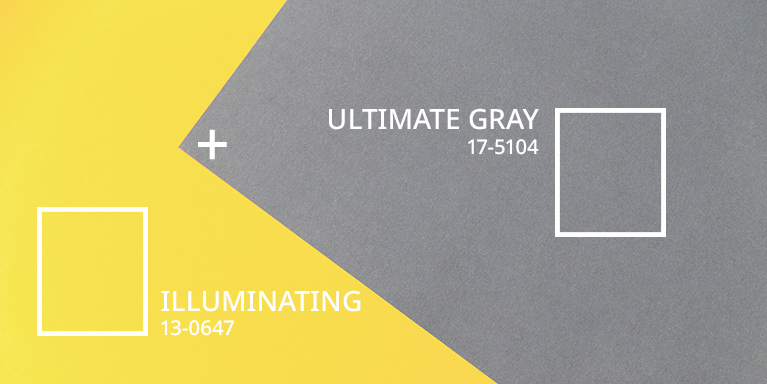 Gray and yellow color blocks with pantone code